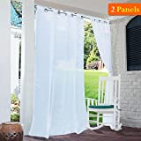 RYB HOME Outdoor Sheer Curtains - Window Treatment Grommet Top Waterproof Outdoor Indoor Privacy Voile Drape for Patio/Pergola, with 2 Free Tieback Ropes, Wide 54 by Long 84 Inch, Set of 2