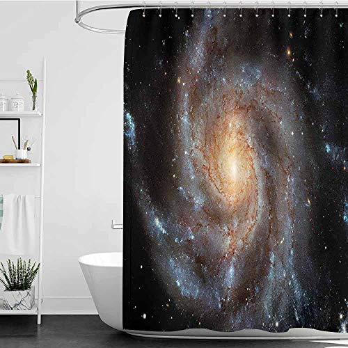 Shower Curtains Nature Picture Galaxy,Stars in Galaxy Spiral Planet Outer Space Nebula Astronomy Themed Image Print,Black Beige Violet W36 x L72,Shower Curtain for Women
