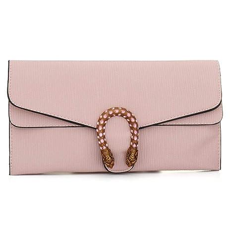 d25ff46cdfe Amazon.com: Womens Designer Leather Envelope Clutch, Evening Clutch Wallet  Bag Crossbody Purse Evening Handbag with Card Slot and Adjustable Strap  (Pink): ...