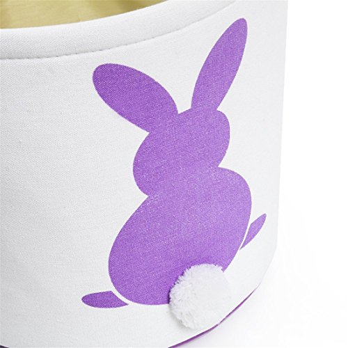 GWELL 4 PCS, Easter Bunny Basket, Foldable Gift Basket Bucket for Kids, DIY Gifts, Egg Hunt, Candies, Goodies, Canvas Bag with Bunny Tail Pompom by GWELL (Image #6)