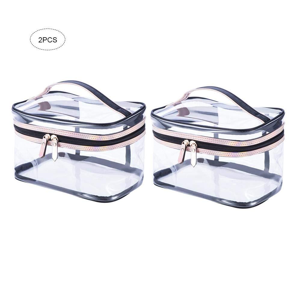 iBaste 2Pcs Sacchetto Cosmetico Trasparente Immagazzinaggio Alta Capacità Borsa da Viaggio Impermeabile iBaste_S