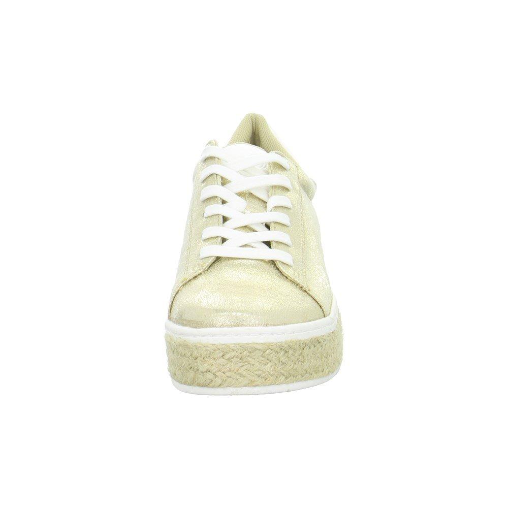 s.Oliver Damenschuhe 5-5-23626-28 Modischer in Damen Freizeitschuh, Sneaker, Schnürhalbschuh in Modischer Mettalic Optik Gold 1f9988