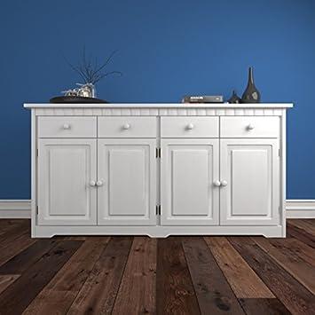 Belfast aparador madera maciza de pino en color blanco con 4 puertas ...
