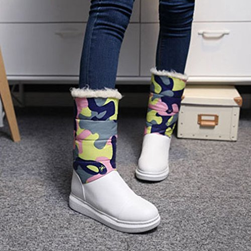 Calf Flowers Lined Mid Winter Pink Warm Fashion Boots Snow Fur Boots Waterproof Snow Boot Snow Womens GIY O7FqcBYO