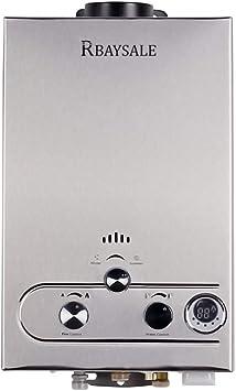 RBAYSALE Calentador de Agua de Gas, Gas Butano para Toda la Casa Baño al Aire Libre Ventilación Directa sin Tanque 1200W Con Tanque de Agua de Cobre ...