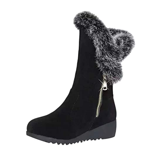 547f5d31ea00e Amazon.com: Women Wedge Platform Ankle Boots, NDGDA Zipper Plus Velvet  Winter Warm Snow Boots: Home & Kitchen