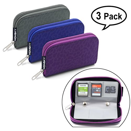 Memory Card Holder, HONSKY 3 Set 22 Slot Leopard Print SD CF SDHC SDXC MMC Micro SD SecureDigital Memory CompactFlash Card Carrying Cases Sleeves Media Storage Organization - Purple, Blue, (Grey Card Set)
