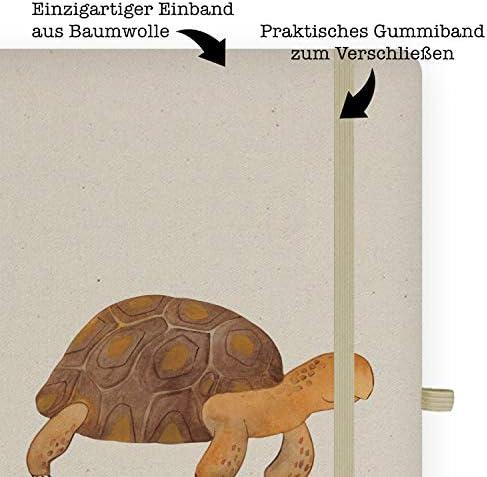 Mr. & Mrs. Panda Schreibheft, Notizblock, DIN A5 Baumwoll Notizbuch Schildkröte marschiert - Farbe Transparent