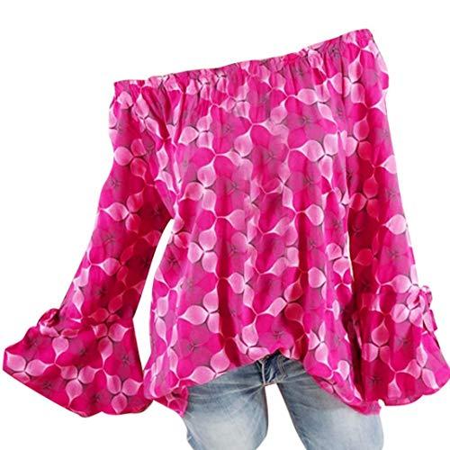 Shiny Black White Horn - Clearance Women Tops LuluZanm Plus Size Tops Loose Blouse Slash Neck Printing Horn Long Sleeves Tops