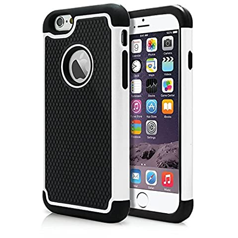 iPhone 6/6S Case, Bumper Defender Hard Dual Layer Thin Armor TPU Interior Silicone Heavy Duty Solid PC Back Shock Absorbing Scratch Resistant Hybrid Dual Cover (Iphone 4 Otterbox Armor Case)