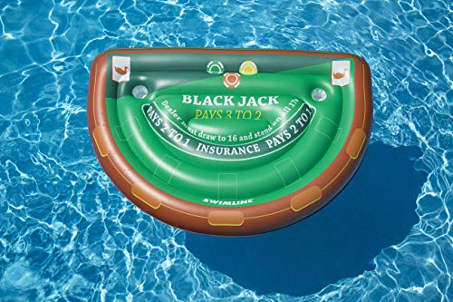 Swimline Blackjack Table Game with Waterproof Cards Pool Inflatable Ride-On, Green -