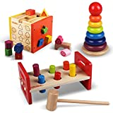 WALIKI TOYS Pounding Bench with Hammer, Wood Shape Sorting...