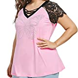Plus Size Tops for Women BXzhiri Wear Beads Lace V-Neck Cross Short Sleeve Casual Crop Tops Hot Pink