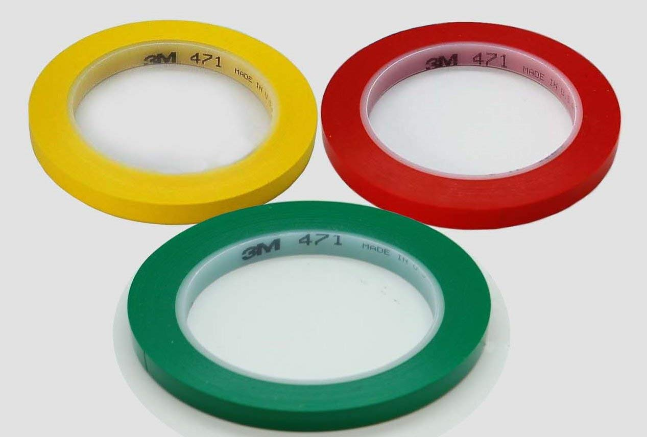 3M Car Painting, Lining, Fine Line, Masking, Moulding Flexible Vinyl Tape, 33M (6mm Red+6mm Yellow+6mm Green) by Olax