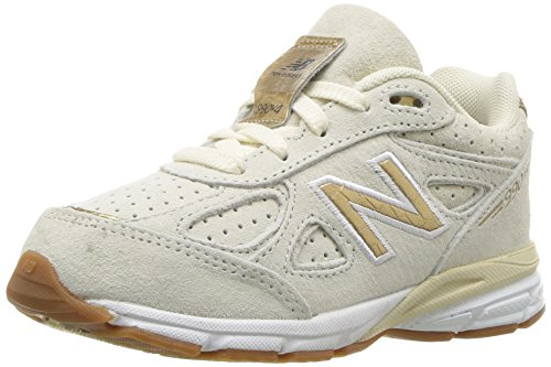 New Balance Girls' 990v4 Sneaker, Angora/Gold, 7 XW US Toddler - Womens Angora Blend