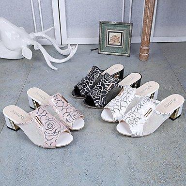 LvYuan Mujer Sandalias Talón Descubierto TPU Verano Casual Vestido Paseo Talón Descubierto Poroso Tacón Robusto Blanco Negro Rosa 5 - 7 cms Black