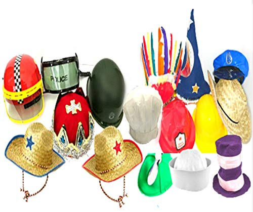 Funny Dress Up and Role Play Costume Hats for Kids - Includes 5 Random Crazy Hats for Crazy Hat Day, Birthday Party Fun, and Pretend Play Costumes ()
