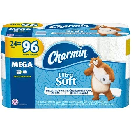 Charmin Ultra Soft Mega Roll Toilet Paper, Mega, 24 Count by Charmin