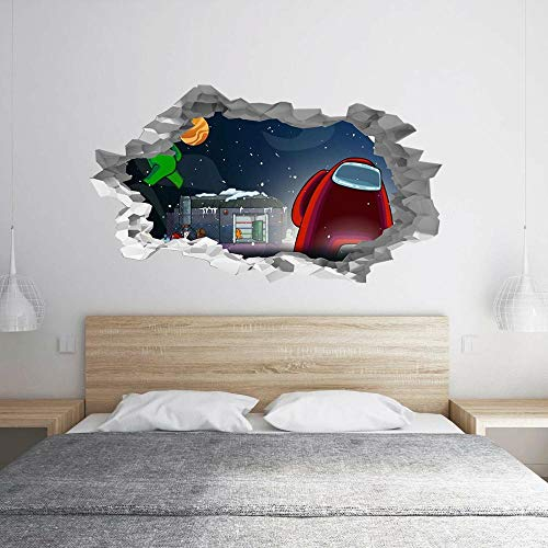 QAW Pegatinas de pared Among Us in Space 3D Hole in The Wall B Effect Wall Sticker Decal Mural