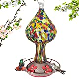 Grateful Gnome - Hummingbird Feeder - Hand Blown Glass - Red Speckled Mushroom - 26 Fluid Ounces