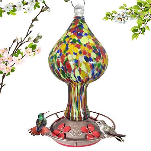 Grateful Gnome - Hummingbird Feeder - Hand Blown Glass - Red Speckled Mushroom - 26 Fluid (Blown Glass Hummingbird Feeder)