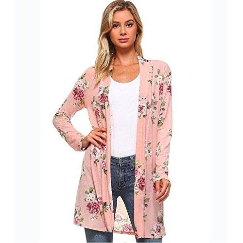 Cashmere Print Cardigan - IEason Women Shirt 2017 Hot Sale! Lady Women's Fall Long Sleeve Floral Print Kimono Cardigan Blouse Shawl Tops (L, Pink)