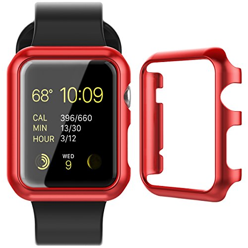 CinoCase Apple Watch Series 1 / 2 Case, 38mm Thin Fit Snap-On PC Hard Protective Bumper Case Premium Slim & Light Scratch-Resistant and Shockproof Cover for Apple Watch Series 1 / 2 (Red)