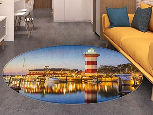 (United States Dining Room Home Bedroom Carpet Floor Mat Hilton Head South Carolina Lighthouse Twilight Water Reflection Boats Idyllic Non Slip rug)