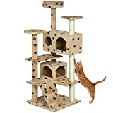 Best Choice Products 53'' Multi-Level Cat Tree Scratcher Condo Tower- Paw Prints