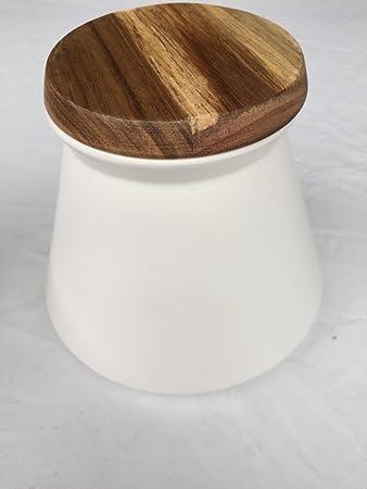 Vorratsdose creme Keksdose modern Keramik mit Holzdeckel Dose Küche ...