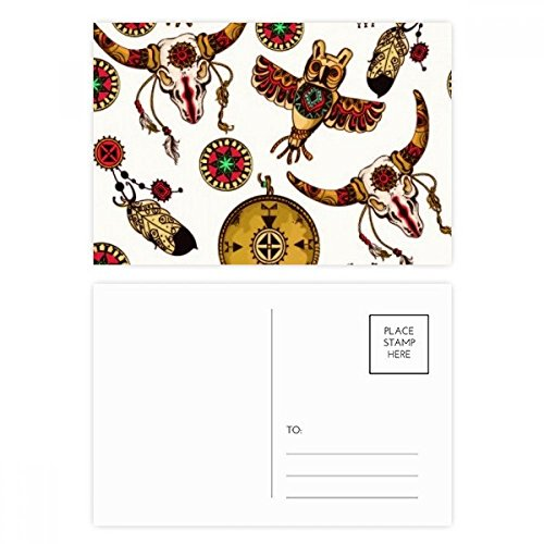 Native American Indian Animal Totem Postcard Set Birthday Thanks Card Mailing Side 20pcs