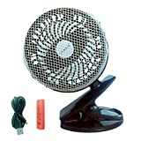"Image of TimeLed Rechargeable 2600mAh Battery Operated Fan, Clip on Desk Fan, 6"" Mini Portable Table Fan with 59 inch USB Cable, Quiet, Adjustable (Black)"
