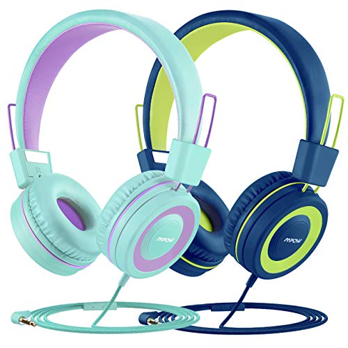 Mpow Kids Headphones (2-Pack), 91dB Volume Limiter & Hearing Protection, Light Weight Comfortable On-Ear Headsets w/Foldable and Durable Earphones with Audio Splitterfor Toddlers, Children (3-16 Years Old)