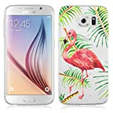 Galaxy S6 Case, JAMMYLIZARD Invisible Gel Sketch Clear Design Back Cover Samsung Galaxy S6, Flamingo