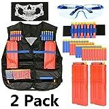 2 Sets Tactical Vest Kits for Nerf Gun - 2 Pack N-Strike Elite Tactical Vest Jacket with 2 Wrist Hands + 4 Quick Reload Clips + 80pcs Bullets + 2 Protective Glasses and 2 Face Tube Mask for Kids Fun