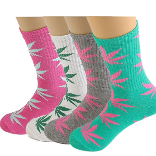 4Pair Pack Marijuana Weed Leaf Printed Cotton High Socks  Mix Colors  Fit For Shoe Size 7 11  A Match
