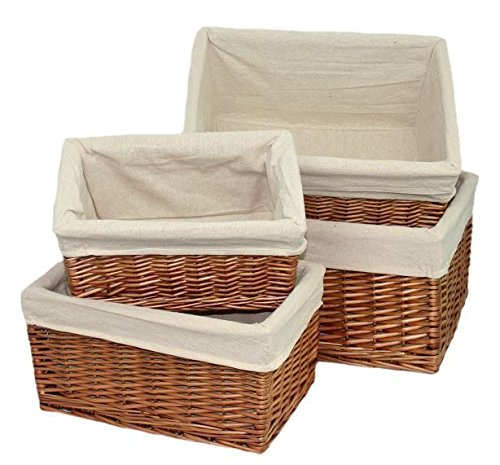 Double Steamed Lined Storage Wicker Basket Set 4 by Red Hamper