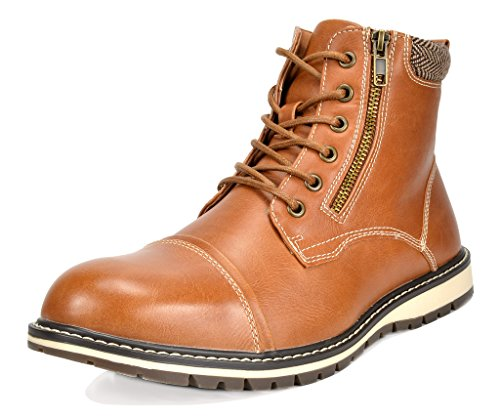Bruno Marc Men's Apache-03 Brown Faux Fur Lined Motocycle Combat Oxford Ankle Boots Size 10.5 M US by BRUNO MARC NEW YORK