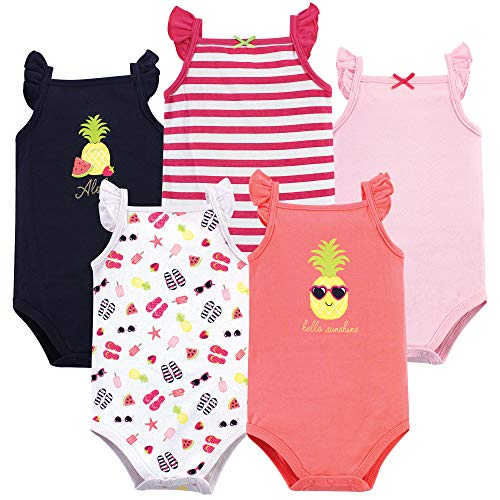 Hudson Baby Unisex Baby Sleeveless Cotton Bodysuits, Hello Sunshine 5-Pack, 9-12 Months (12M)
