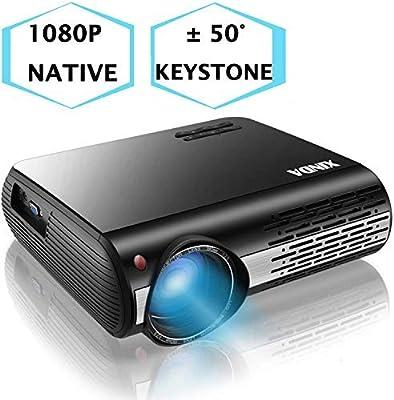 Amazon.com: 1080P Projector,XINDA 6200 Lux Projector ,±50°4D ...