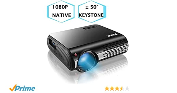 Amazon.com: 1080P Projector,XINDA 6200 Lux Projector ,±50°4D ...