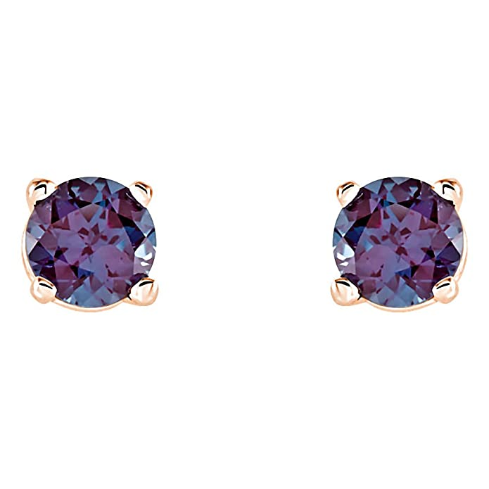 birthstone natural june amazon jewelry genuine com earrings prong dp gold rose alexandrite stud set cttw