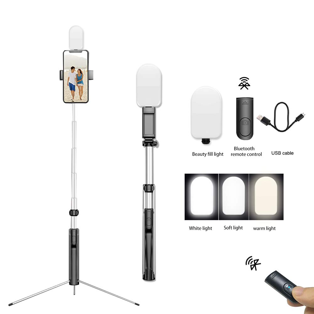 """Selfie Stick Tripod, 63"""" Extendable Camera Tripod with Wireless Remote Control and Detachable Selfie Fill Light, Compatible with iPhone Xs/XR/XS Max/X/iPhone 8/8 Plus/iPhone 7/7 Plus, Galaxy S9 Plus"""