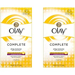 Olay Complete Lotion All Day Face Moisturizer for Oily Skin with SPF 15, 6 Fl Oz (Pack of 2)