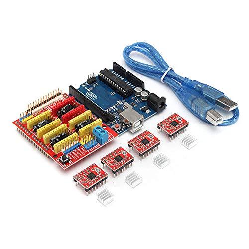 SODIAL 3D Printer Board Kit For Arduino CNC Shield V3+UNO R3+A4988x4 GRBL Compatible