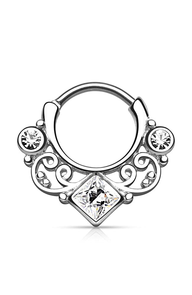 316L Surgical Steel Brass Hinged Septum Clicker Nose Ring Hoop Choose Your Color CZ 16G Nose Ring Bling NSD1608-Clear