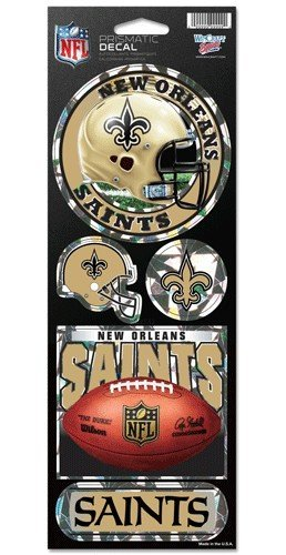 New Orleans Saints 5 Pack of Stickers - Holographic Cracked Ice - Orleans Outlet New