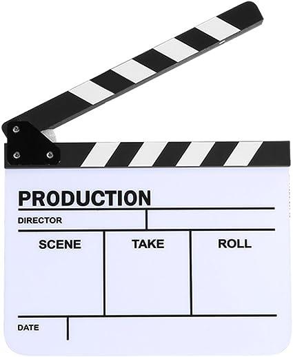 Clap en Acrylique 30x25CM Clap de cin/éma Professionnel Film daction Clap Directeur de Photographie Outil Bigking Clap de r/éalisateur Tableau Noir Bar Blanc