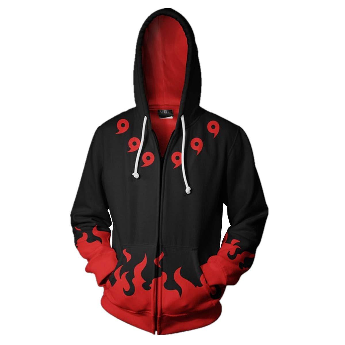 CHENMA Men Naruto Kakashi Long Sleeve Full-Zip Bomber Jacket Hooded Varsity Jacket (L/US M, Indora) by CHENMA