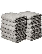 AmazonBasics Cotton Hand Towels - Pack of 12, Grey